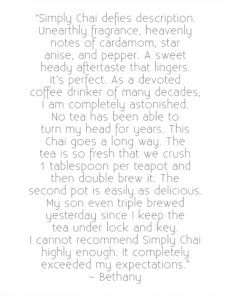 Chai Garden Shop reviews, reviews for authentic organic masala chai, bethany schafer
